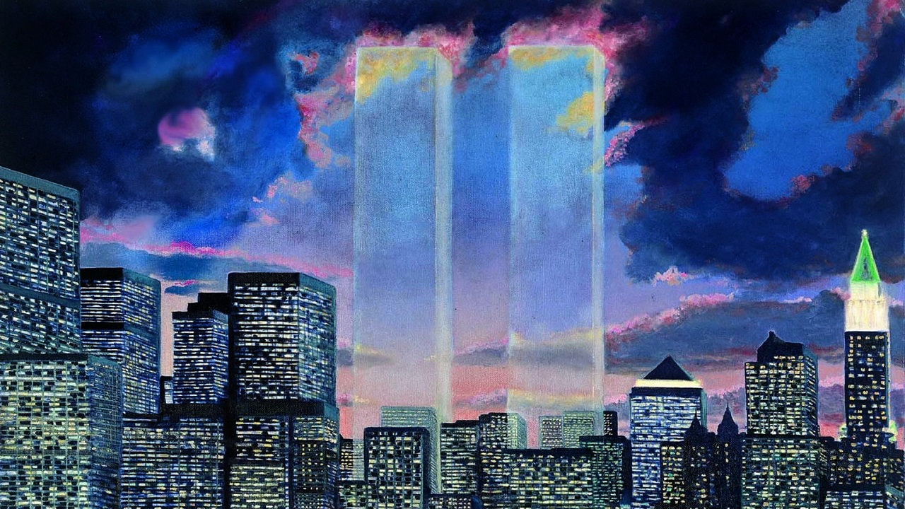 A painting features translucent Twin Towers against a black and dark blue sky. The Twin Towers are surrounded by neighboring buildings of lower Manhattan, lit up at night.