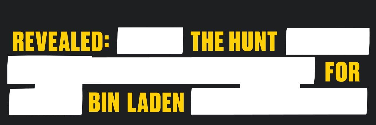 "Exhibition title, ""Revealed: The Hunt for Bin Laden"" rewritten as redacted text."