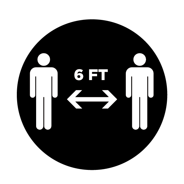 This black and white graphic shows two figures standing apart with a two-way arrow with an indication of six-feet of social distancing.