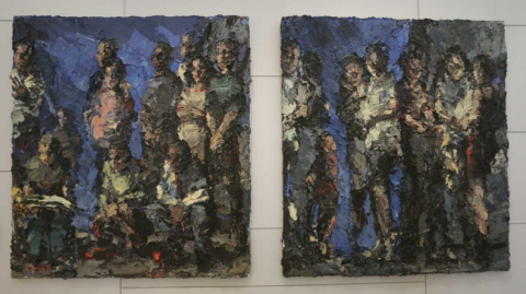 "Oil on canvas diptych painting by David Stern titled ""The Gatherings,"" 2001-2002. The painting depicts abstract human figures gathered together."
