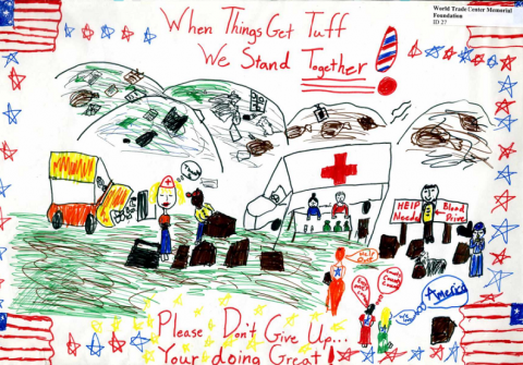 "A child's drawing features red, white, and blue imagery, a variety of helpful first responders, and the message ""When things get tuff (sic) we stand together! Please don't give up... your (sic) doing great!"""